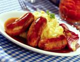 Bangers and Mash with Brown Sauce --- Image by © Royalty-Free/Corbis
